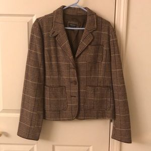 American Eagle Plaid Blazer with Elbow Patches